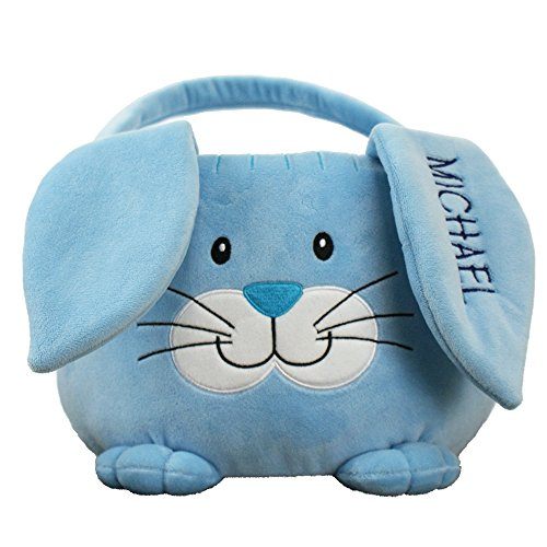 Embroidered Plush Blue Bunny Easter Basket, Personalized, 10