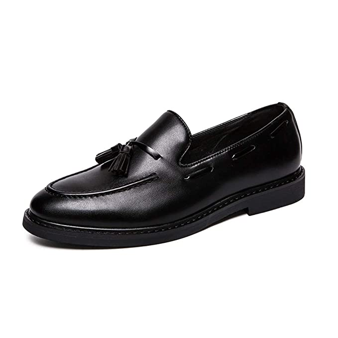 119224c6ba5 Hilotu Men s Loafers Oxford Dress Shoes Casual Thick Fringed Sets Foot  Formal Wedding party Shoes (