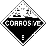 Accuform MPL801CT25 PF-Cardstock Hazard Class 8 DOT Placard, Legend''CORROSIVE 8'' with Graphic, 10-3/4'' Width x 10-3/4'' Length, White on Black (Pack of 25)