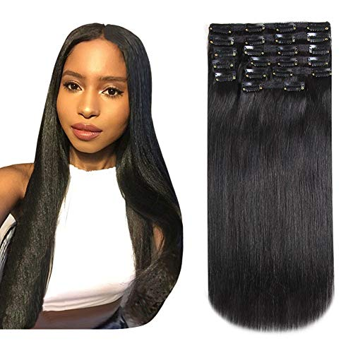 HEESAGA Clip in Hair Extensions Real Human Hair for Women Beauty 20 Inch 200 Grams/7.1 Ounce 10 Pieces with 22 Clips per Set (#1B Natural Black) (Human Hair Extensions 200g)