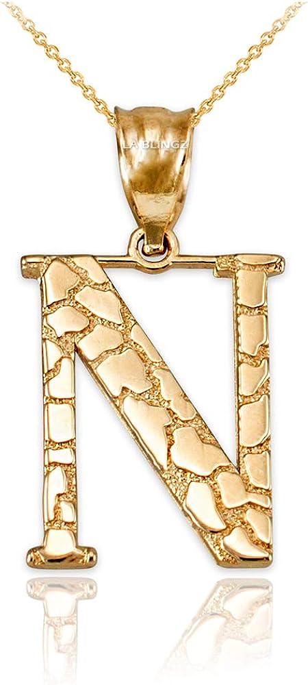 LA BLINGZ 14K Rose Gold Nugget Initial Letter W Necklace