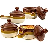 French Onion Soup Bowls, Brown Ceramic Crocks with Lids and Handles, Set of 4