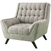 K&A Company Grey Upholstered Chenille Mid-Century Tufted Chair Padded 40 H x 39.5 W x 40.5 D Arm padded Backrest