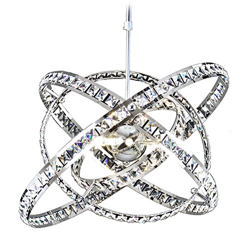 MEEROSEE MD86263MN Crystal Modern Sphere Orb Globe Cage Round Pendant Fixtures Dining Room Contemporary Ceiling Lights Chandelier,