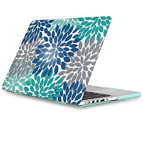 LEEVAN Dahlia Flower Pattern MacBook Pro 15 inch Hardshell Matte Plastic Lightweight Ultra Thin Snap on Case Cover for MacBook Pro 15.4'' Retina Display Model(A1398),Blue+Teal