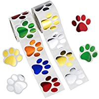 Forbetter 200ct Bronzing Material Paw Print Stickers, Dog Paw Label Stickers for Kids, 6 Colors, 2 Rolls