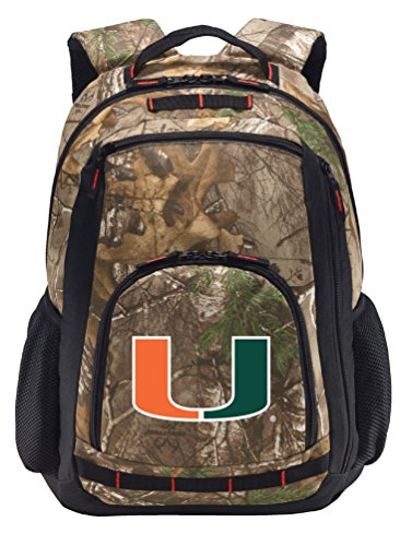 University of Miami Camo Backpack REALTREE Miami Canes Backpacks - Laptop Section! by Broad Bay