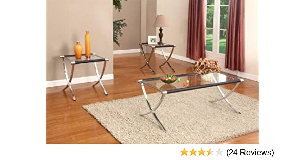 Amazon Com Kings Brand Furniture Glass Top Coffee Table 2 End