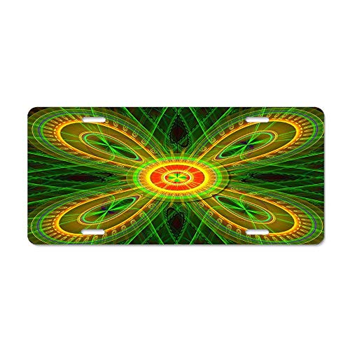 (FloralFlames The Green Fractal Butterfly License Plate Decorative Novelty License Plate Cover Vanity Tag Gifts for Men Women 6