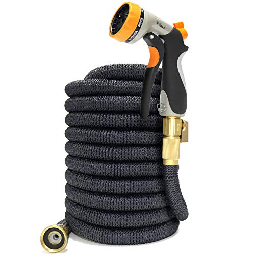 50ft Expandable Garden Hose with 8 Pattern Hose Nozzle - 3/4