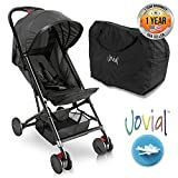 Upgraded Portable Lightweight Travel Stroller - Easy 1 Hand Foldable Compact Stroller, Adjustable Reclining Seat, World's Smallest Stroller to Fit in Small Cars Between The Seats by Jovial (Black)