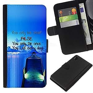 KLONGSHOP // Tirón de la caja Cartera de cuero con ranuras para tarjetas - Muelle Falso Blue Live Die Barco Mar Océano - Sony Xperia Z2 D6502 //