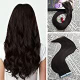 Moresoo 22 Inch Tape on Dark Brown Hair Extensions Color #2 Straight Remy Human Hair with Invisible Tape Hair Extensions 100g/40pcs