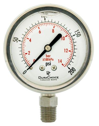 "2-1/2"" All Stainless Steel Oil Filled Pressure Gauge - 1/4"" NPT Lower Mount 200PSI"