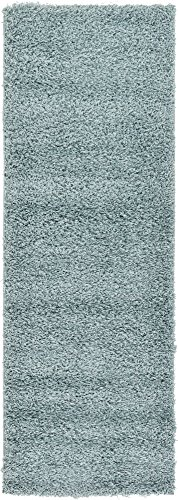 Cozy Shaggy Collection Solid Color Shag Area Rugs Light Slate Blue 2' 1 x 6' 5 Tonal Shag Rug Contemporary Living & Bedroom & All Area's - Available in Many Size and Color's
