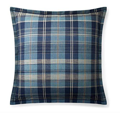 Ralph Lauren Plaid Fabric - Ralph Lauren Artisan Loft Jasper Blue Euro Sham