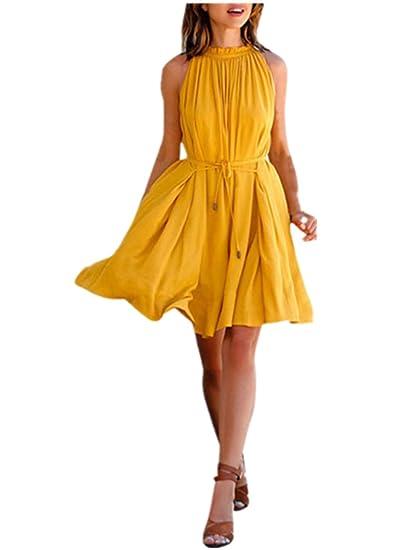Yuenne-Dress for Women Yellow Summer Dress Women s Sleeveless Beach Party  Casual Dress at Amazon Women s Clothing store  32aca994b3