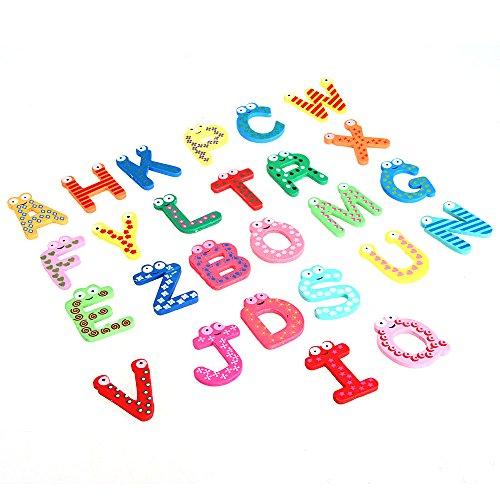 Kids toys colorful wooden refrigerator magnet alphabet A-Z Letters 26pcs ()