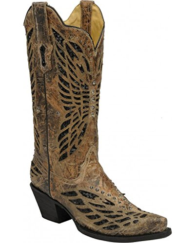 CORRAL Womens Crystal Butterfly Cowgirl Boot Snip Toe - R1211 Bronze CljPW0NeIs