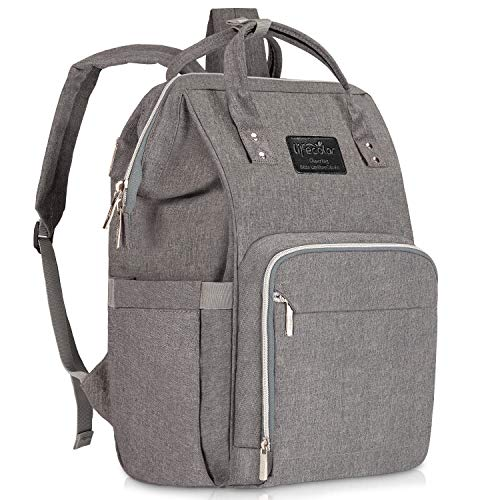 Diaper Bag Backpack, Lifecolor Multi-Function Waterproof Maternity Nappy Bags for Mom Travel, Baby Care with Insulated Pockets, Large Capacity, Durable and Stylish, Gray