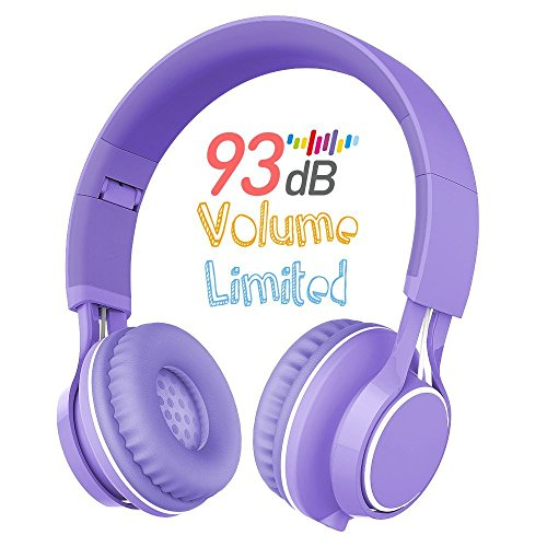 Kids Headphones, HD30 Volume Limiting Over Ear Kids Headset with Microphone for Girls Boys and iPad Tablets Computer Laptops Android Smartphone (Purple)