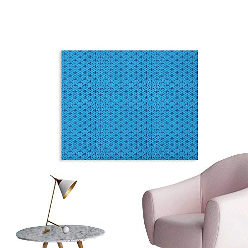Anzhutwelve Fleur De Lis Art Decor Decals Stickers Diagonal Lines Rectangle Frames Traditional Abstract Lily Shape Monochrome Cool Poster Blue Dark Blue W28 xL20