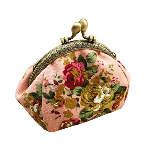 (HeySun Girls Floral Slim Wallet Kiss-Lock Change Pocket Casual Coin Purse for Ladies (Pink) )