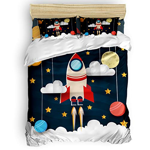 Star Rocket Twin Bed - LOVE HOME DAY Funny Cartoon Outer Space Rocket Bedding Sets Twin Ultra Soft 4 Pieces Duvet Cover Set with Decorative 2 Pillow Shams Bedspread Bed Sheets Flying Universe Galaxy Stars