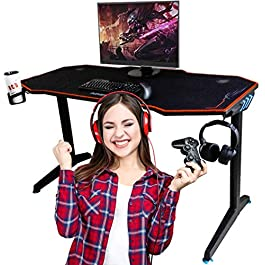 OCD By Design Gaming Computer Desk or Computer Gaming Desk 55″ Wide Large Office Table, Pro PC Video Gamer Desk, Multi Colored LED Lights, Carbon Fiber Surface, Mouse Pad, Headphone, cup holder