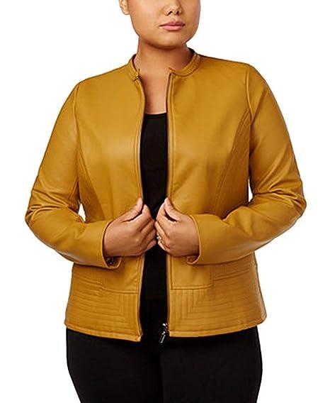705a6197bf0 Alfani Plus Size Faux-Leather Collarless Jacket (0X