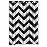 "Waterproof Bathroom Fabric Shower Curtain, Black and White Chevron Pattern Print Design 48"" x 72"""