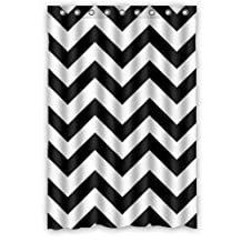 "Waterproof Bathroom Fabric Shower Curtain, Black and White Chevron Pattern Print Design 48"" x 72"""