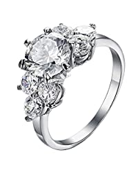 PAURO Jewelry Women's Stainless Steel Crystal Zircon Rings Hearts and Arrows with Three Stone