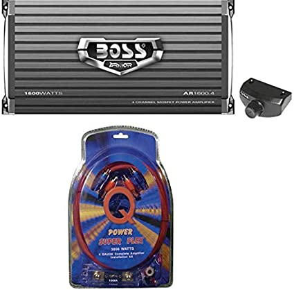Boss Audio R2504 1000W 4 Channel Amplifier With 8Ga Amp Install Kit