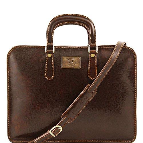 Tuscany Leather - Alba - Maletín en piel con un compartimento Marrón oscuro - TL140961/5 Marrón Oscuro