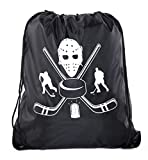 Goodie Bags for Kids | Drawstring Gift Bags with Logo for Bdays, Parties + More - 10PK Black CA2500PTY Hockey