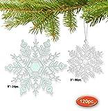 Snowflake Ornaments - Set of 120 White Snowflake Ornaments - 96 Small Mini Snowflakes and 24 Medium Snowflakes - Snowflake Decorations