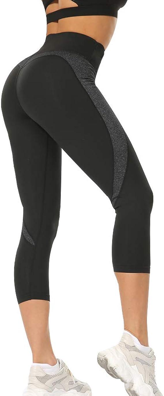 Vertvie Femme 3//4 Leggings de Sport avec Poche pour T/él/éphone Pantalon Court Collant Capris Stretch Extensible Short de Sport Taille Haute pour Yoga Fitness Jogging