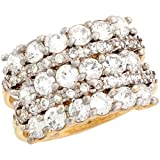 10k Two Tone Real Solid Gold CZ Eye Catching Cluster Band Ring