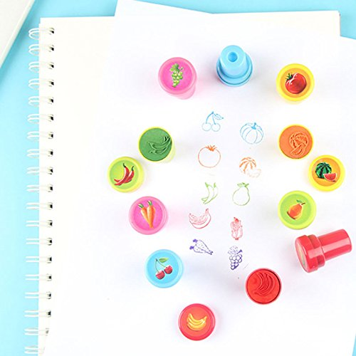 Adeeing 10 Pcs//Pack Rubber Stamps Set Cute Self Inking Vegetables and Fruit Stamp Toys for Scrapbooking Decor Children Gift