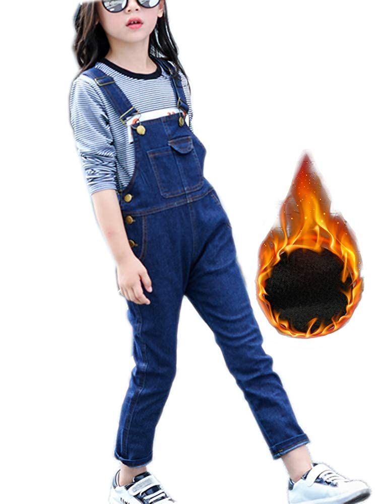 Sitmptol Girls Big Kid Thermal Fleece Lined Long Jeans Cotton Thicken Warm Denim Bib Overalls 1P 18Oct28-1