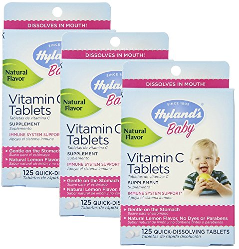 - Hyland's Baby Vitamin C Quick Dissolving Tablets, Natural Lemon 125 ea (Pack of 3)