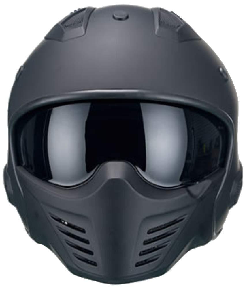 Motorradhelm Jethelm Helm RALLOX 726 matt schwarz mit ansteckbaren Kinnteil Gr/ö/ße M