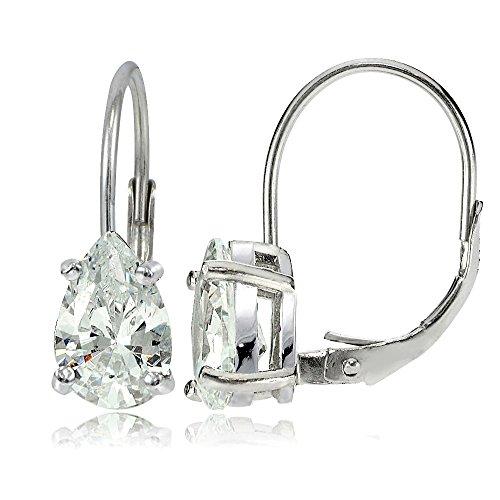 - Hoops & Loops Sterling Silver 9x6mm Pear Shape Cubic Zicronia Leverback Earrings