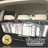 Car Trunk Organizer Backseat Auto Interior Foldable Removable Heavy Duty Storage Mesh Backseat- Multipurpose and Foldable Five Pocket Cargo Net Organizers in Black- Arrange Everything You Need Now!