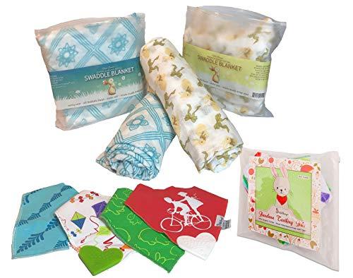 Baby Registry Shower Gift Set Bundle (2 Swaddles + 4 Bandana Teething Bibs)