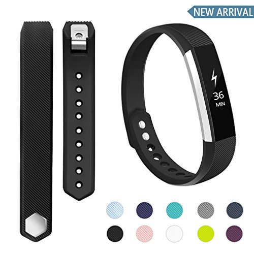 POY Compatible Bands Replacement for Fitbit Alta Bands, Adjustable Wristband Sport Bands for Fitbit Alta/Fitbit Alta HR (Black, Small)