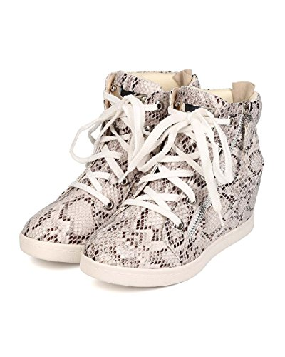 Fahrenheit EH80 Women Leatherette Snakeskin Quilted Hidden Wedge Sneaker - Snake eiWDlqp