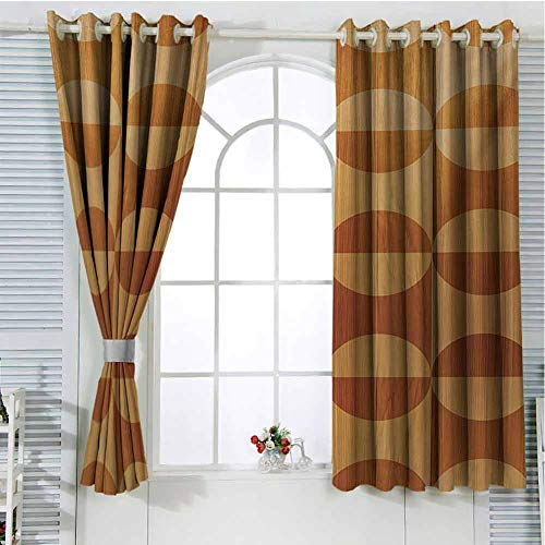 FreeKite Rustic Patio Door Curtains for Bedroom Abstract Style Oak Plank Pattern with Tiled Bound Lines and Oval Curves Image Thermal Insulated Noise Reducing W96 x L107 Inch Orange and Tan (Doors Oak Patio External)