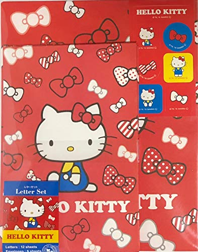 - Sanrio Hello Kitty Letter Set 12 Writing Paper + 6 Envelopes + 7 Stickers Stationary Japan (Red Ribbon)